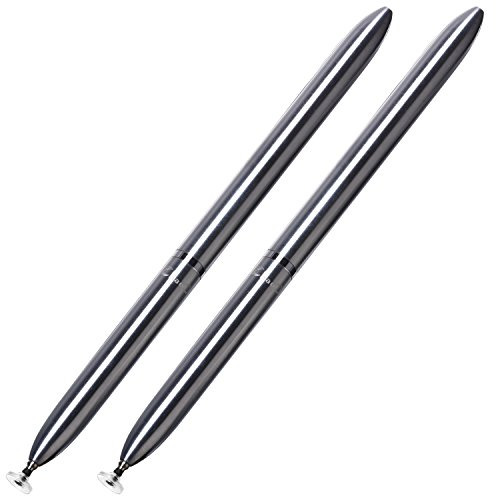 ChaoQ Touch Stylus Pen, (2 Pcs, Silver) Precision Disc Stylus and Ball Pens Black Ink for Universal Touch Screens Devices, iPad, iPhone, Samsung, Tablet, Kindle Fire - Silver Ring