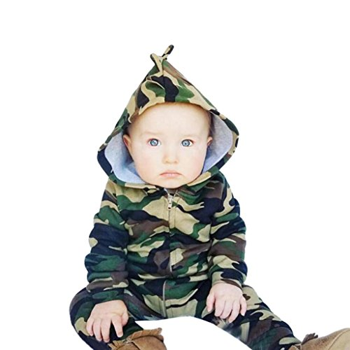 TIFENNY Children Cute Camouflage Zipper Hooded Romper Clothes (18-24M, Green)