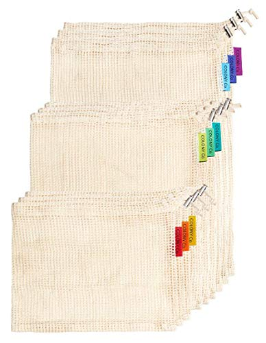 Colony Co. Reusable Produce Bags, Natural Cotton Mesh is Biodegradable, Recyclable Packaging, Machine Washable, Durable, Double-Stitched Seams, Tare Weight on Label, Set of 9, Small-Medium-Large ()