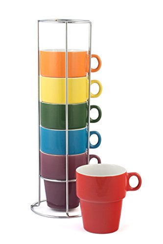 Stackable Cappuccino Cup - Gypsy Color Ceramic Coffee Mug Set of 6 Large (12 oz.) Stackable Cappuccino Cups with Chrome Stand, Mulicolor Rainbow Flag Colors