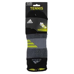 adidas Men's Barricade Tennis No Show Sock, Black/Tech Grey/Vivid Yellow, Large
