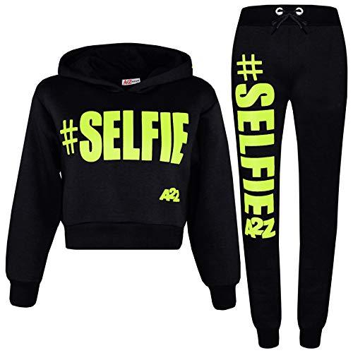 (Kids Girls Jogging Suit Designer #Selfie Hooded Crop Top Bottom Tracksuit 5-13Yr)