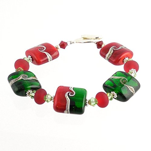 Handmade Red and Green Christmas Lampwork Holiday Bracelet