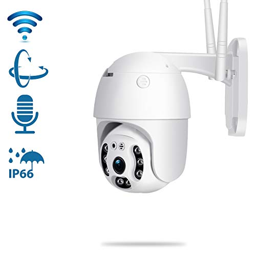 Pan Tilt Outdoor Security Camera,1080P Home WiFi IP Camera, Pan Tilt Dome Surveillance Cam, Two Way Audio Motion Detection 196ft Night Vision Onvif Waterproof CCTV Camera Max 128G SD