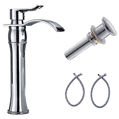 Votamuta Chrome Finish Waterfall Spout Basin Vessel Sink Faucet One Handle One Hole Bathroom Mixer Tap with Pop Up Drain