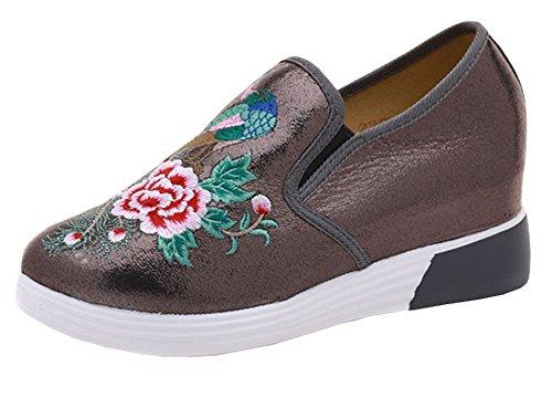 Avacostume Öka Broderi Klack Mode Sneaker Skor Grå
