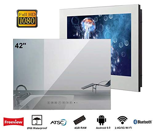Elecsung 42 inch Smart Mirror Bathroom TV IP66 Waterproof TV with Integrated HDTV(ATSC) Tuner for Home/Hotel Use with…