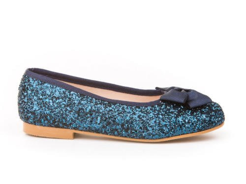Schuhe für Mädchen in Glitter Alles Leder Mod. 1577. Kinderschuhe Ballerinas Made in Spain, Hohe Qualität. Marineblau