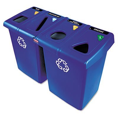 Rubbermaid Commercial Glutton Recycling Station, Rectangular, Plastic, 92 Gallons, Blue -