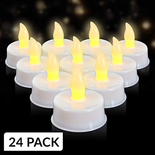 LED Flameless Tealights - Pack of 24 White Faux Tea Light Candles with Realistic Flicker - Batteries Included - by Light Me Up ()