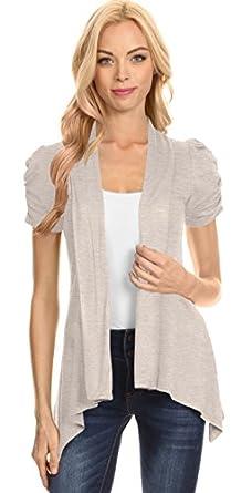 Simlu Short Sleeve Cardigan For Women Open Front Draped Flyaway ...