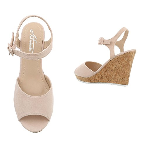 Mujer Zapatos 15 Beige Cuña 3811 Para Design Ital Sandalias Vestir Sandalias de Plataforma de qT5txOZw