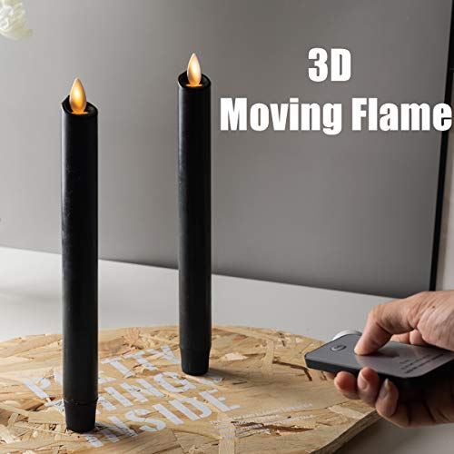 Set of 2 Halloween Black Moving Wick Flameless Taper Candles. with Remote an Timer. Wax.Halloween Candles for Orange Pumpkin LED Battery Operated .Halloween Jack.Halloween Window Canldes