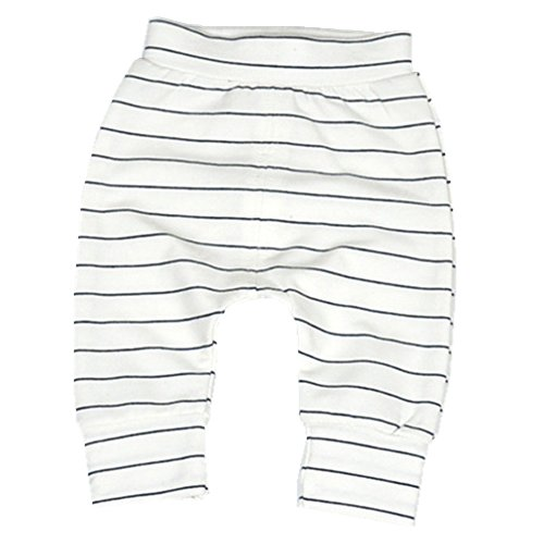Ding-dong Baby Boys Girls Striped Pants(White, 12-18M)