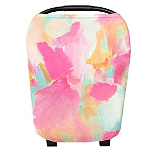 """Baby Car Seat Cover Canopy and Nursing Cover Multi-Use Stretchy 5 in 1 Gift """"Monet"""" by Copper Pearl"""