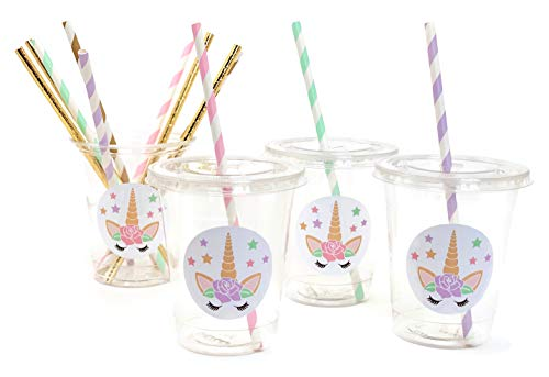 Unicorn Birthday Party Cups 12 oz Disposable Plastic Lids Straws (12 Count)