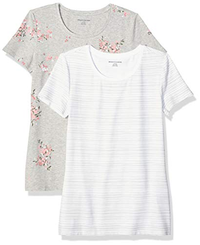 Amazon Essentials Women's 2-Pack Classic-Fit Short-Sleeve Crewneck T-Shirt, Floral/Grey Stripe, S