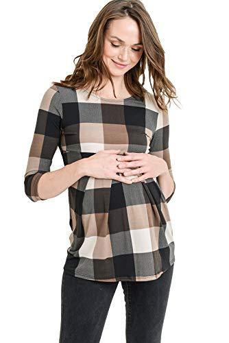 LaClef Women's Round Neck 3/4 Sleeve Front Pleat Peplum Maternity Top (Brown Plaid, ()