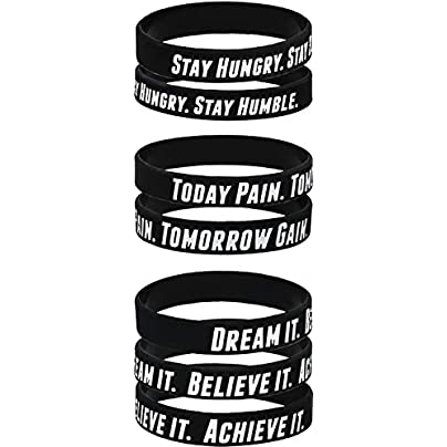 AMPM Collective Silicone Motivational Wristbands Rubber Inspirational Quote Bracelets Unisex for Men Women Teens Good for Daily Discipline Perseverance and Motivating Force 6 12 24 Pack Estimated Price £24.30 -