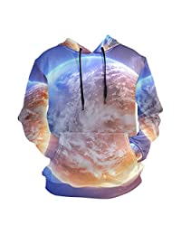 SLHFPX 3D Hoodie Earth Space Pullover Hooded Sweatshirts Long Sleeve Shirt