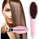 ZOQWEID Electric Comb Brush 2 in 1 Straightening LCD Screen with Temperature Control Display hair straightener for women,hair Straightening comb brush,hair straightener (pink)