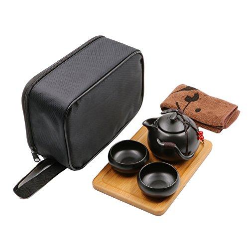 Juego de te portatil Gongfu para viaje, estilo chino / japones, tetera de ceramica hecha a mano 2 tazas de te de bambu Teatray Bolsa Negro