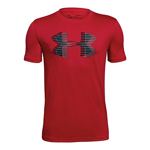 (Under Armour Boys' Tech Big Logo Solid T-Shirt, Red (600)/Black, Youth Large )