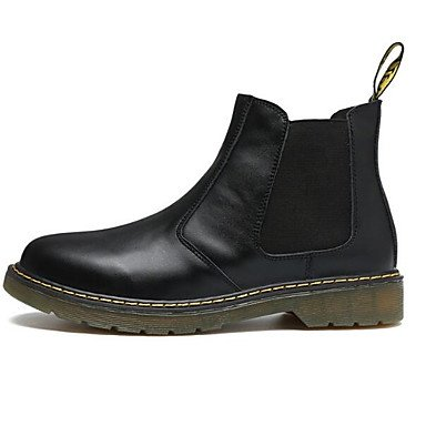 RTRY Zapatos De Mujer Cuero Nappa Moda Otoño Invierno Botas Botas Chunky Talón Botines/Botines De Casual Negro Marrón Rojo US7.5 / EU38 / UK5.5 / CN38