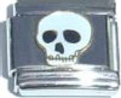(Skull In White Italian Charm)