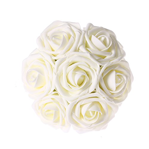Ling's moment Artificial Flowers 50pcs Ivory Real Looking Artificial Roses w/Stem for Wedding Bouquets Centerpieces Party Baby Shower Decorations DIY