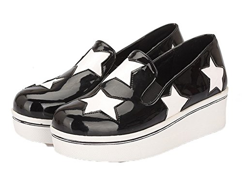 Shoes Women's Black Kitten PU Heels Toe Color Assorted Round Pumps VogueZone009 dzZnOd