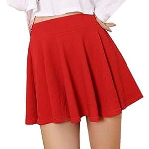 d79ffbb902a33 Fuxitoggo Falda Minifalda Corta Acampanada con faldón y Cintura Alta para  Mujer (Color   Rojo