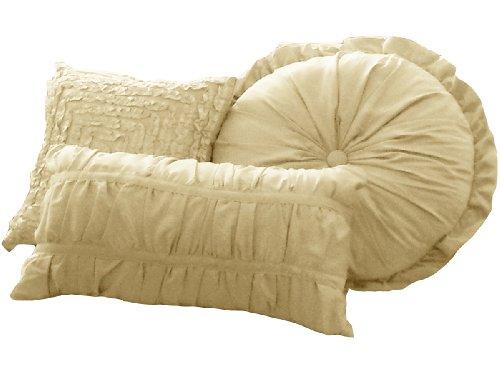 Round Decorative Pillow Set - La Rochelle Sophia 4-Piece Decorative Pillow Set, Champagne
