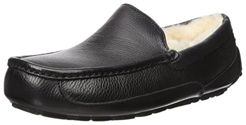 UGG Men's Ascot Slipper, Black Leather, 12 M US