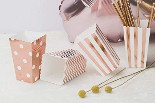 Aimto Rose Gold Popcorn Boxes Cardboard Candy Party Favor Boxes,36pcs ()