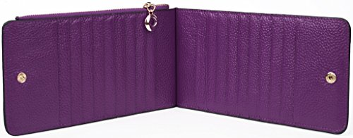 YALUXE Women's RFID Blocking Genuine Leather Multi Card Organizer Wallet with Zipper Pocket RFID Blocking Purple by YALUXE (Image #5)