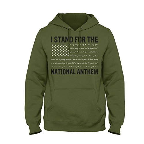 Bang Bang Apparel Men's I Stand The National Anthem Pullover Hoodie Anthem Written As The Stripes (Small, Military Green)