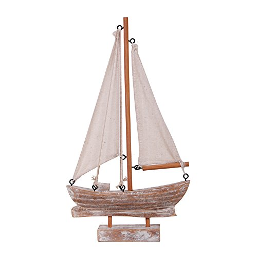 Waroom Home Wooden Sailboat Decor, Handmade Vintage Nautical Decor Sailing Boat Decoration, Wood Display Sail Boat, 10.75''H (B-Sailboat)
