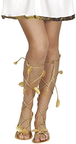 Roman Greek Gold Goddess God Sandals Xena Princess Leaf Venus Ladies Mens Girls Shoes Footwear Fancy Dress Costume Accessory by BOLAND (Greek Goddess Sandals)