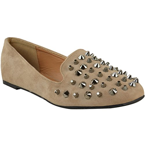 (Fashion Thirsty Womens Studded Flat Pumps Loafers Ballet Rock Punk Shoes Size 6)