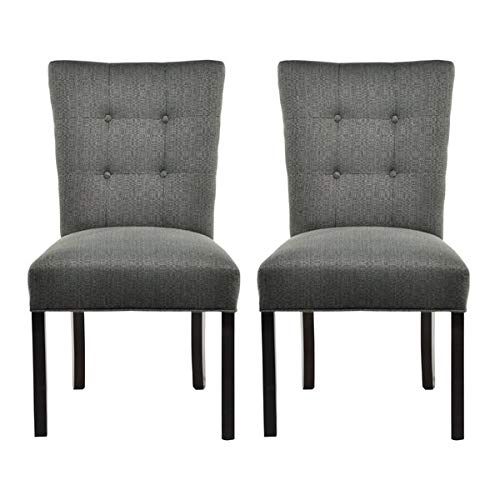 Linen Dining Chair with Solid Back - Upholstered Dining Chair with Button Tufted - Set of 2 - Candice Charcoal