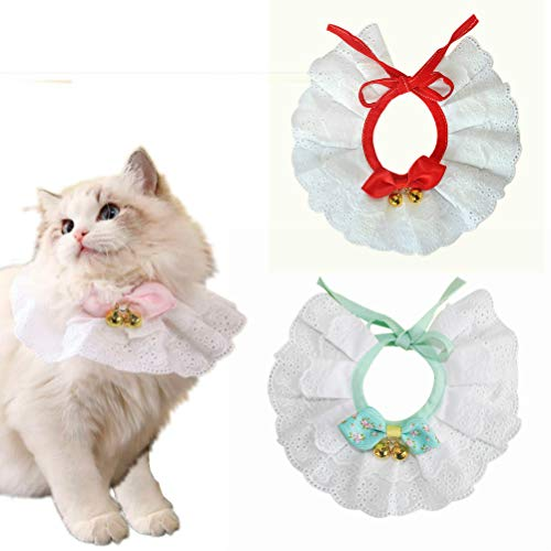 Dog Cat Collar Bow Tie - Entaifeng Kitten Puppy Necklace Jewelry with Bell Lace Bowknot Pet Bowtie Girl Bandanas Costume Decor Accessories - Adjustable -