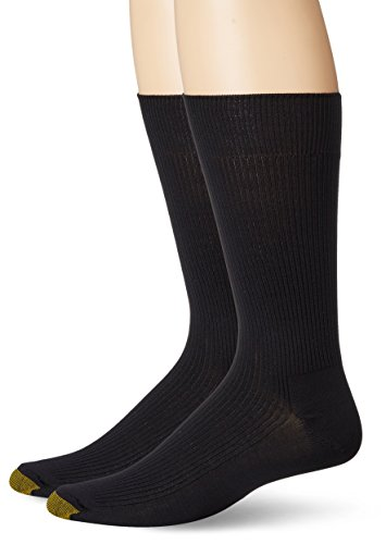 - Gold Toe Men's Comfort Top Nylon Crew 2 Pack, Black, Sock Size:10-13/Shoe Size: 6-12