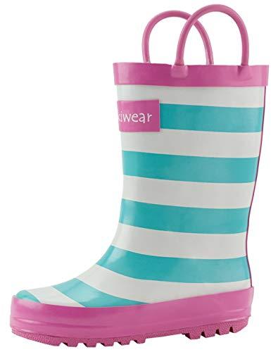 OAKI Kids Rubber Rain Boots Easy-on Handles, Mint, White & Pink Stripes, 5T
