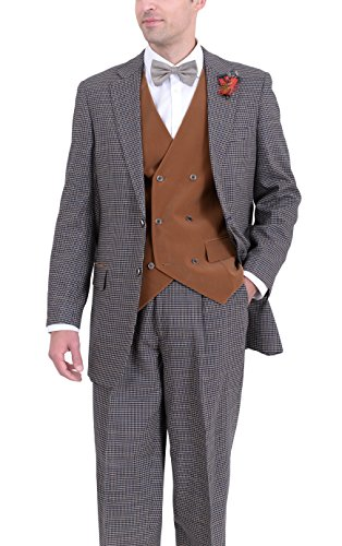 Apollo King Navy & Brown Check Two Button Three Piece Wool Suit With Velour Vest (Check Wool 2 Button Suit)