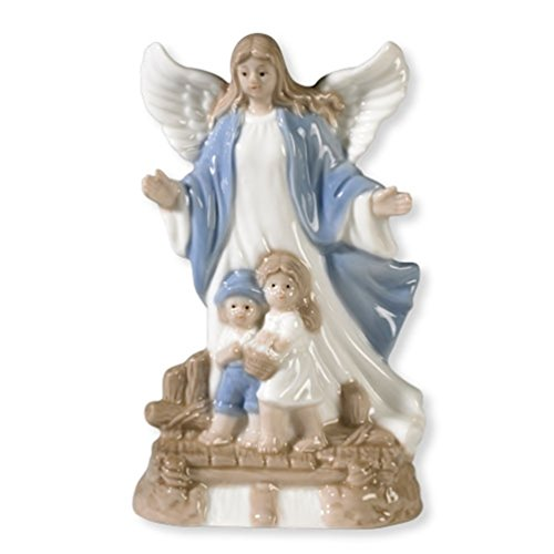 Guardian Angel with Children Figurine 5 1/2 Inch Porcelain Statue