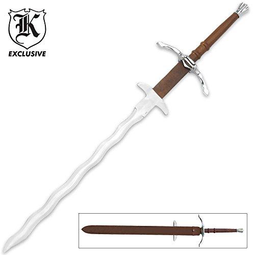 K EXCLUSIVE Two Handed Bastard Kriss Sword & Scabbard