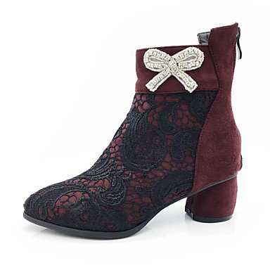 Heart&M Mujer Zapatos Encaje Cuero Nobuck Otoño Invierno Botas de Moda Botas Tacón Robusto Dedo Puntiagudo Mitad de Gemelo Pedrería Pajarita burgundy