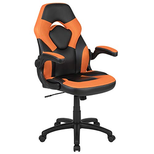 Flash Furniture X10 Gaming Chair Racing Office Ergonomic Computer PC Adjustable Swivel Chair with Flip-up Arms, Orange/Black LeatherSoft, BIFMA Certified