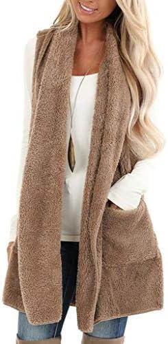 ReachMe Womens Sleeveless Sherpa VestPockets Open Front Fleece Jacket Coat Cardigan Sweaters